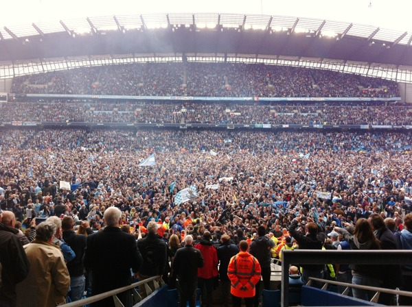 Pitch invasion at the Etihad as Man City win the 2014 Barclays Premier League title