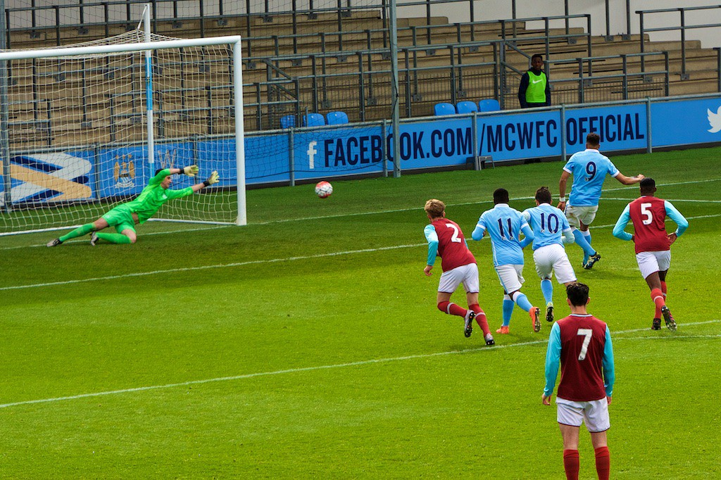 Lukas Nmecha's penalty for Manchester City U18 against West Ham U18