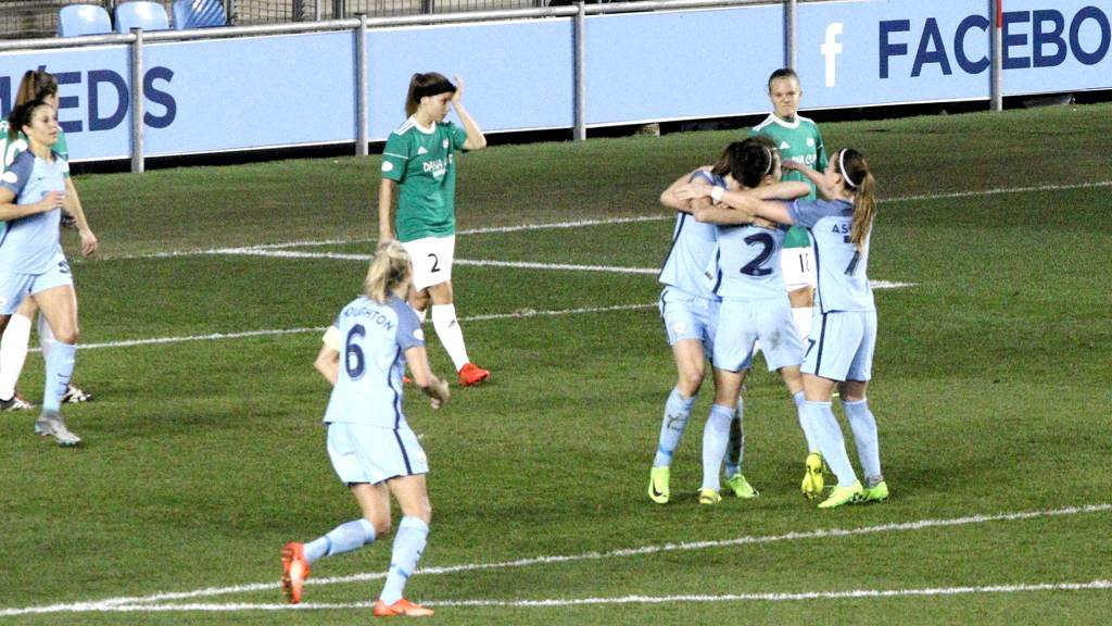 Lucy Bronze celebrates her goal against Fortuna Hjorring with Jill Scott and Kosovare Asllani