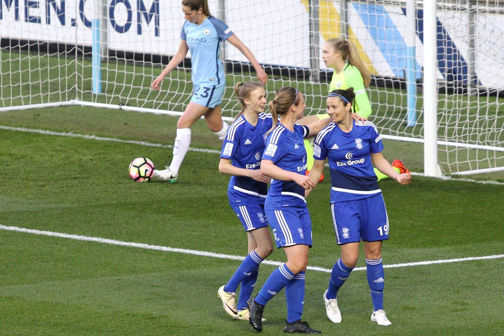 Emily Westwood (right) celebrates her goal with Birmingham City Ladies team mates Ellie Brazil and Kerys Harrop