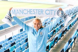 Claire Emslie with scarf at the City Football Academy