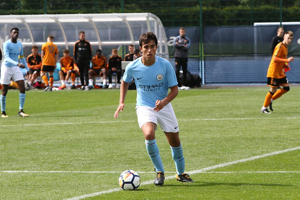 Eric Garcia playing for Man City U18 against Wolves U18