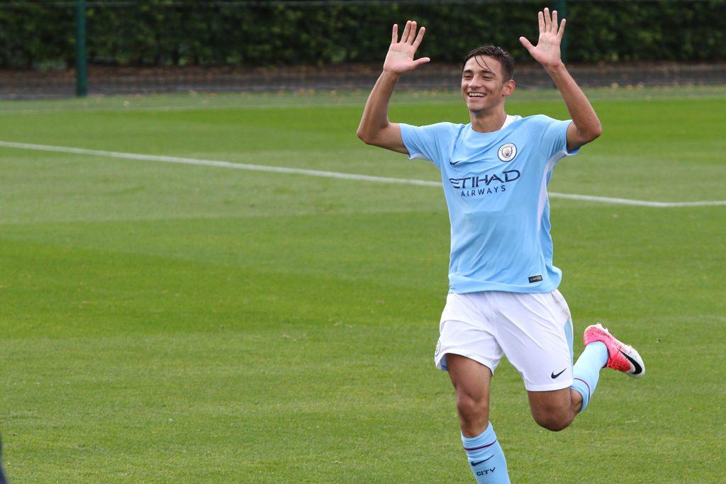 Nabi Touaizi celebrates his goal for Man City U18 against Wolves U18