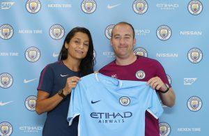 Nadia Nadim with Manchester City Women manager Nick Cushing