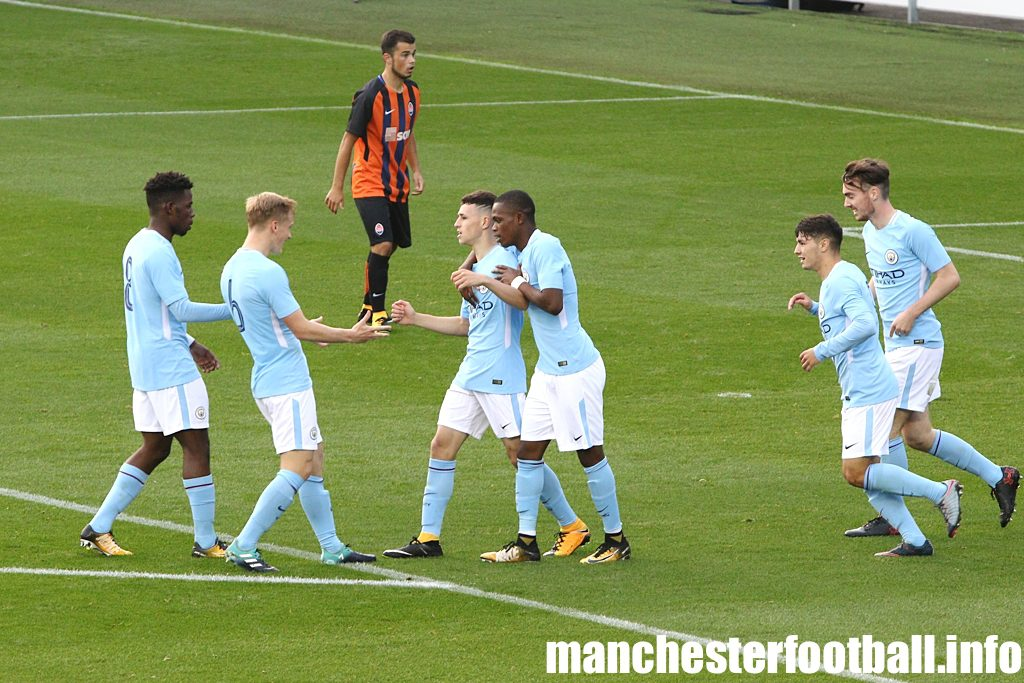 Phil Foden celebrates his goal in Man City's U19 game against Shakhtar Donetsk U19 in the UEFA Youth League