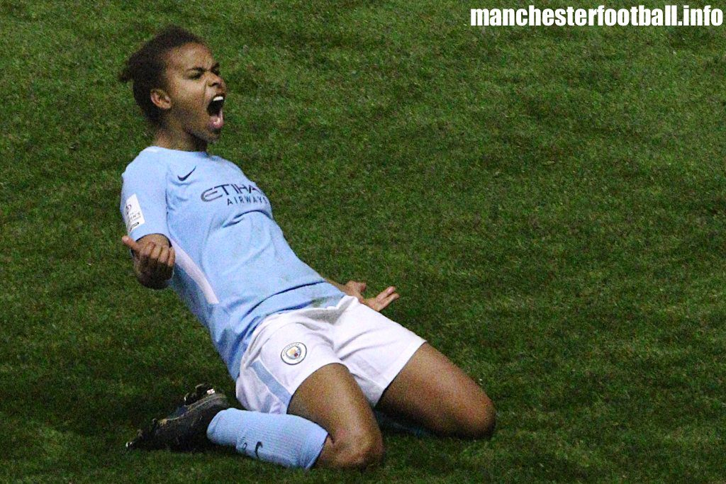 Nikita Parris celebrates the winner against Everton Ladies