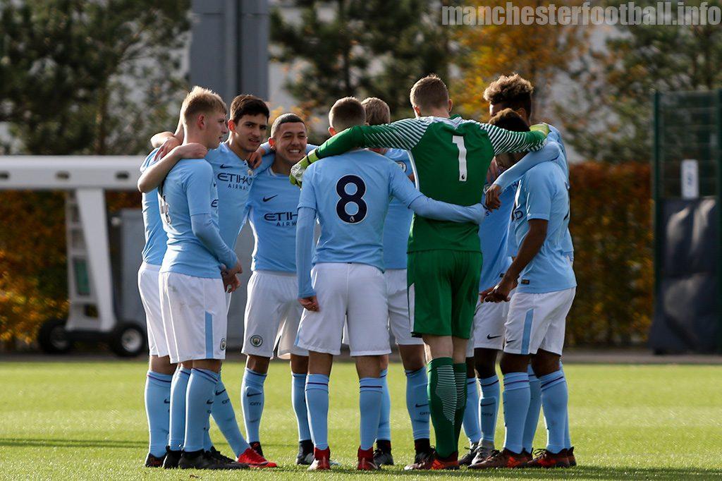 Manchester City U18 team line up for their game against Stoke City U18