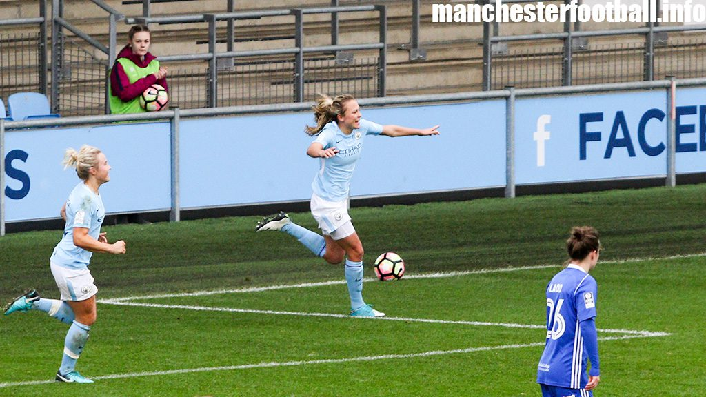Claire Emslie celebrates Manchester City Women's second goal against Birmingham City Ladies