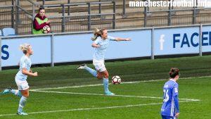 Claire Emslie celebrates Manchester City Women's second goal against Birmingham City Ladies