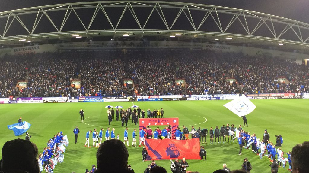 Huddersfield Town and Chelsea Lineups Greet Each Other
