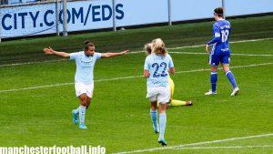 Nikita Parris celebrates her goal against Birmingham City Ladies with Claire Emslie