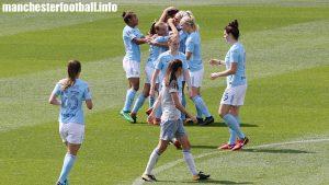 Jill Scott celebrates a goal against Everton Ladies