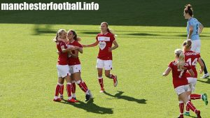 Juliette Kempii celebrates her goal for Bristol City Women against Manchester City Women