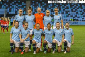 Manchester City Women line up for the Champions League game against Atletico Madrid