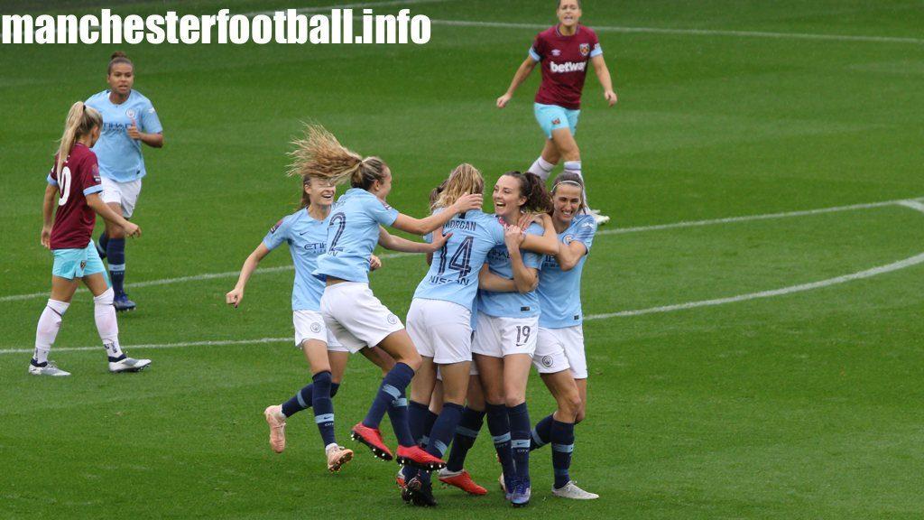 Caroline Weir celebrates her goal for Manchester City Women against West Ham on Sunday, October 14, 2018