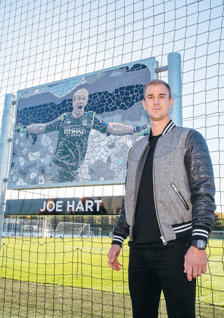Joe Hart and his mosaic at the City Football Academy