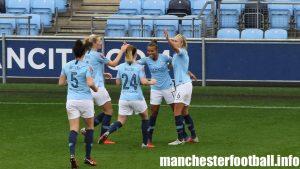Nikita Parris celebrates Man City Women's second goal against West Ham on Sunday, October 14, 2018