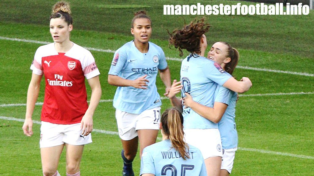 Caroline Weir congratulates goalscorer Georgia Stanway on her goal for Manchester City Women against league leaders Arsenal in their WSL game on December 2, 2018