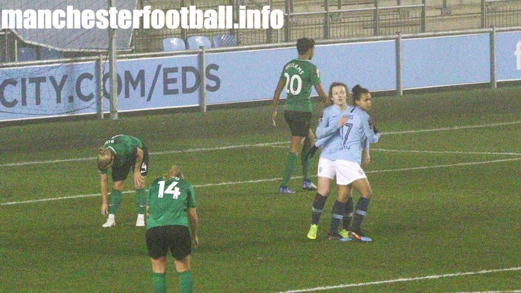 Lauren Hemp congratulates Nikita Parris on her goal against Brighton at the City Football Academy in the Continental Cup on January 10 2019