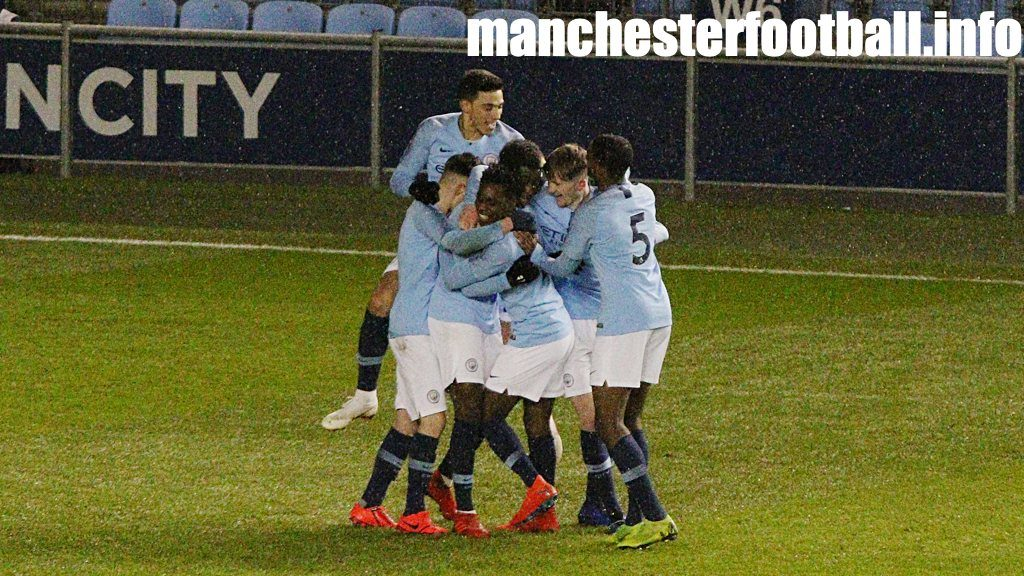 Man City U18 players celebrate Taylor Richards' deflected goal against Nottingham Forest U18 in the FA Youth Cup