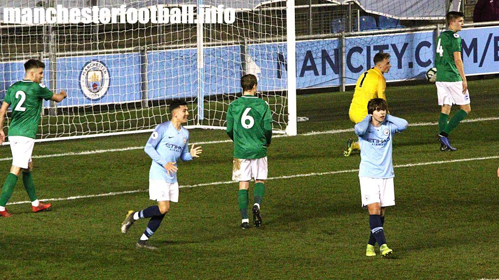 Man City EDS midfielder Adrian Bernabe has a shot saved by Tom McGill of Brighton U23 on February 15, 2019