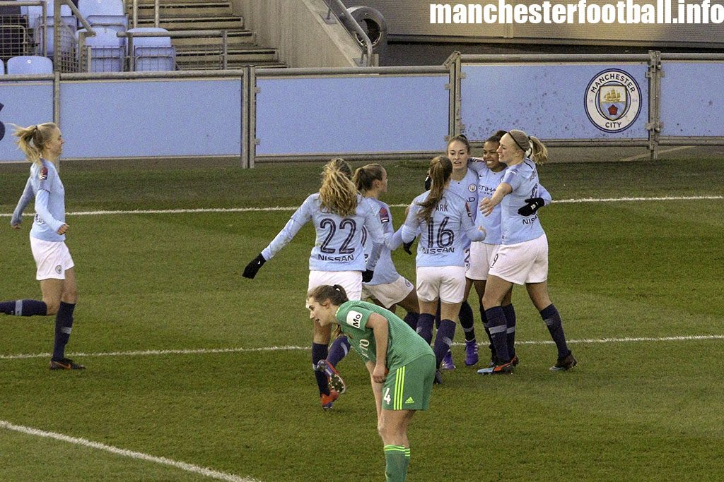 Nikita Parris celebrates her first goal in the FA Women's Cup with Tessa Wullaert and Pauline Bremer against Watford Ladies on February 2 2019