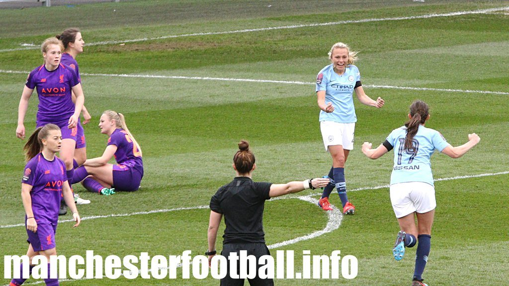 Claire Emslie celebrates her goal against Liverpool Women with Caroline Weir on Sunday March 31 2019