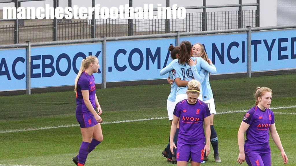 Janine Beckie (right) celebrates her goal for Man City Women against Liverpool Women in the FA Women's Cup on Sunday March 17 2019 with Nikita Parris and Caroline Weir