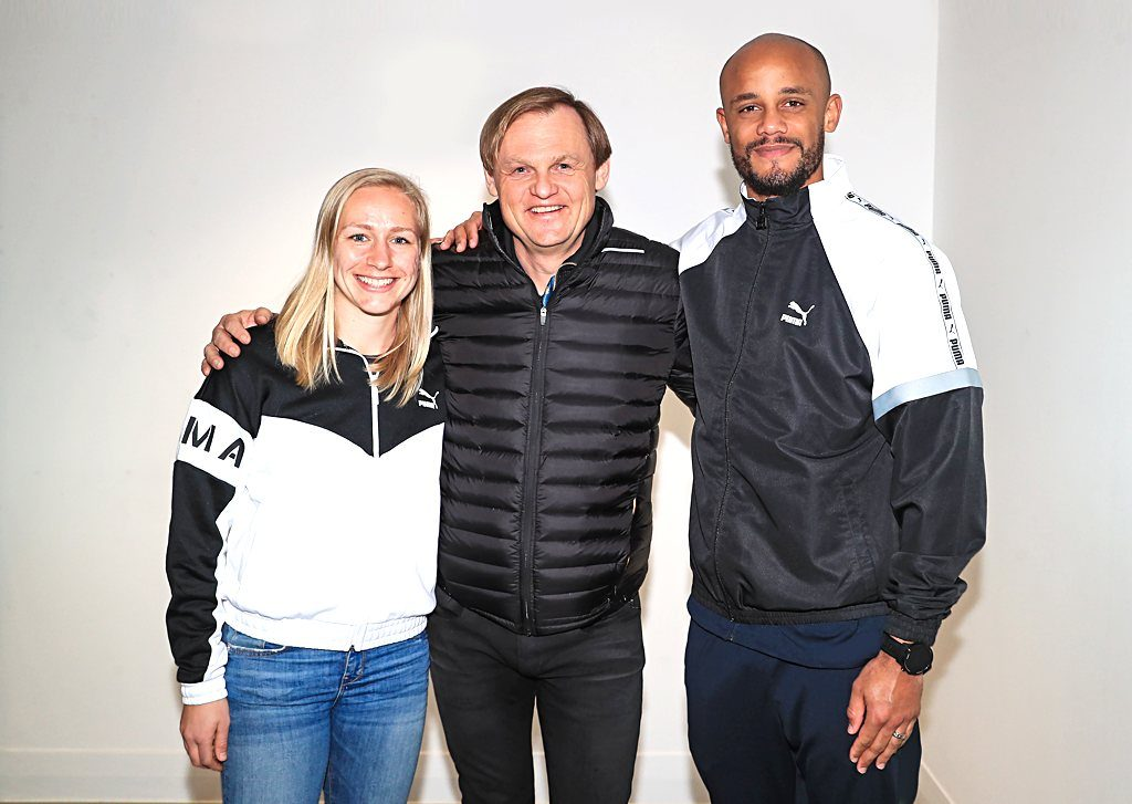 Pauline Bremer, Bjorn Gulden, CEO of PUMA, and Vincent Kompany