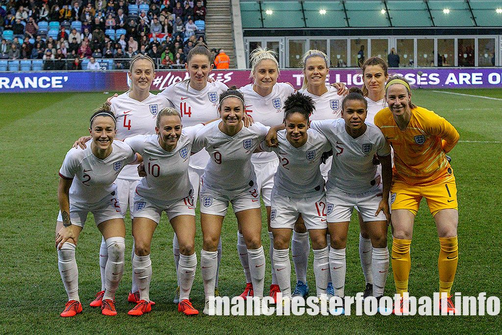 England's Women line up against Canada in the friendly match played at Manchester City's Football Academy Stadium on Friday, April 5th, 2019