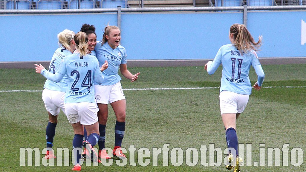 Demi Stokes celebrates Manchester City's winning goal for Manchester City Women against Chelsea Women - her cross was put into her own goal by Magdalena Eriksson in injury time - Sunday, April 19 2019 FA Cup Semi Final
