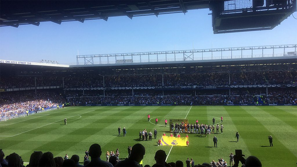 Goodison Park - Everton host Manchester United (in pink away strip) Sunday April 21, 2019