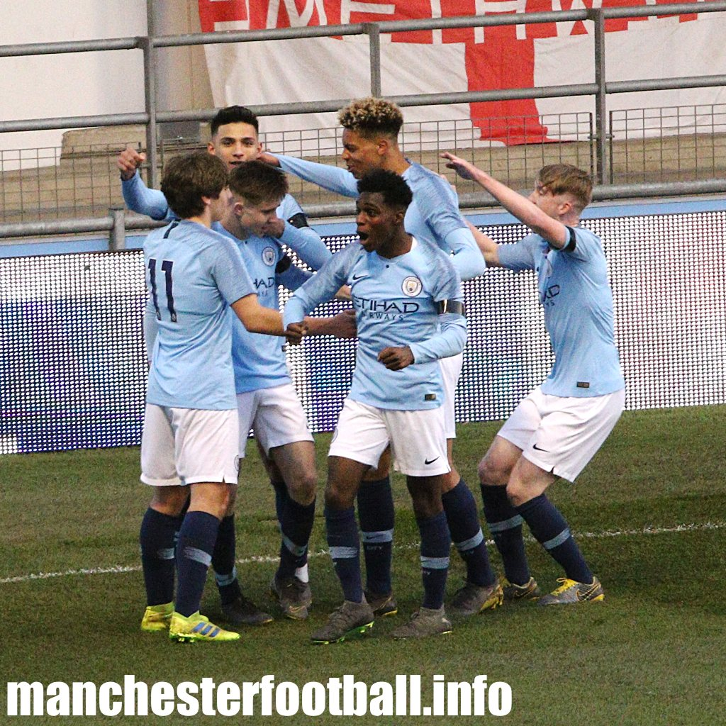 Manchester City's U18 players celebrate Ben Knight's opening goal for Manchester City U18 against WBA in the FA Youth Cup on April 1 2019