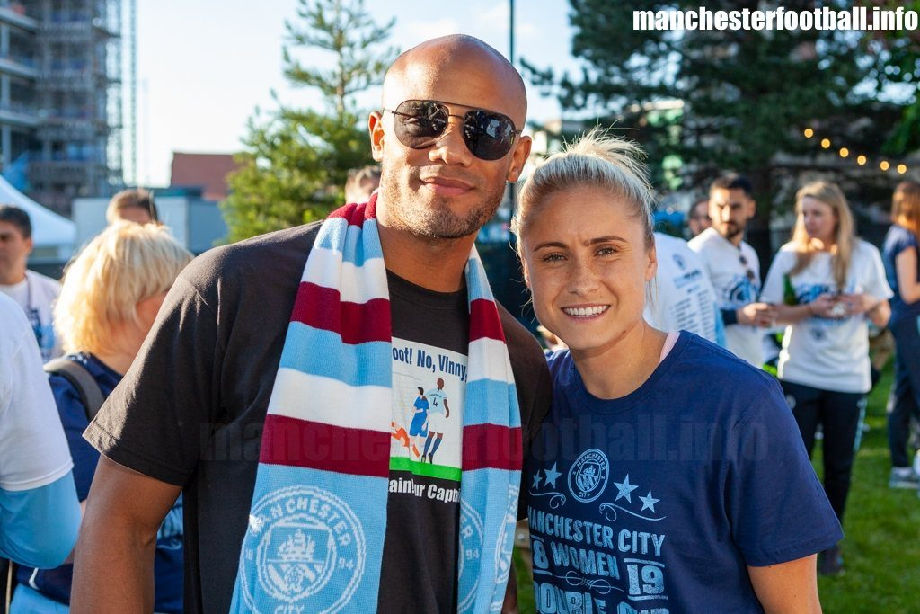 Manchester City captains Vincent Kompany and Steph Houghton at the Man City title parade outside Manchester Cathedral on Monday May 20, 2019