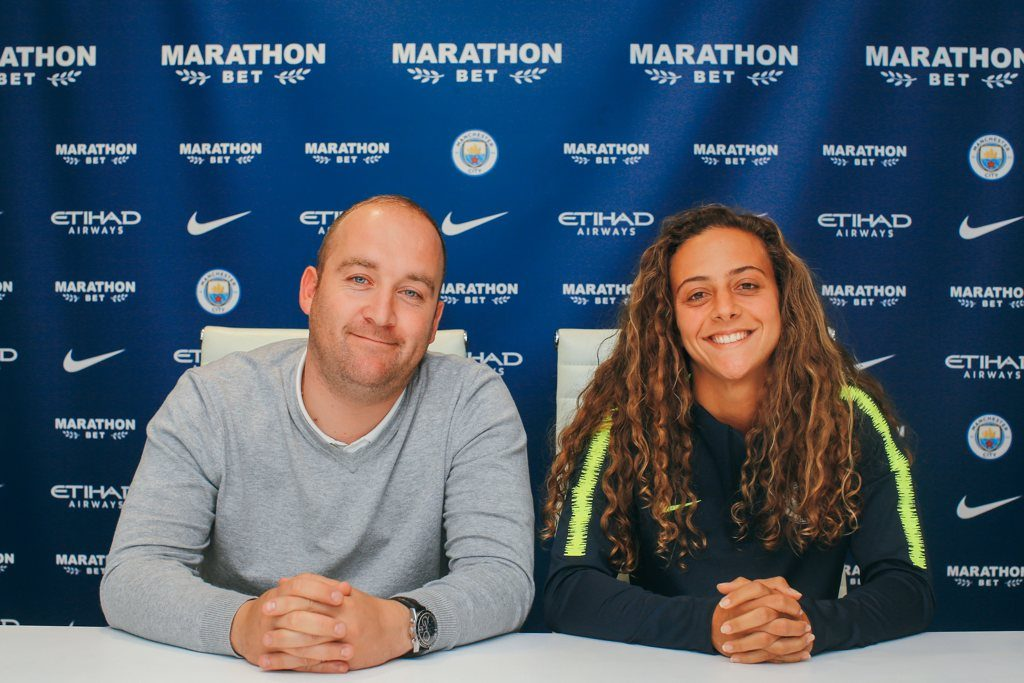 Nick Cushing and Matilde Fidalgo, who has signed for Manchester City on a 2 year deal from July 1, 2019