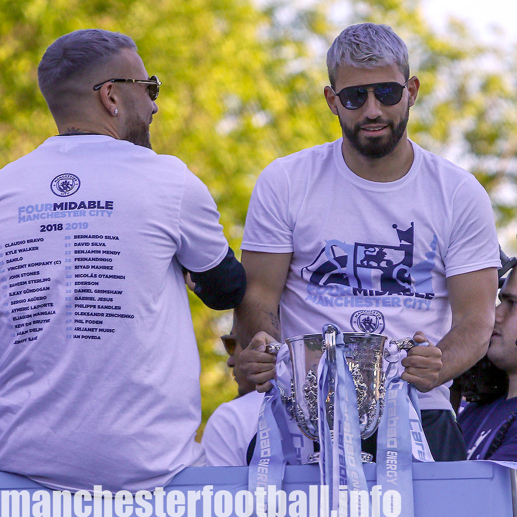Manchester City striker Sergio Aguero with the Carabao Cup during their 2018/19 Fourmidables Title Parade