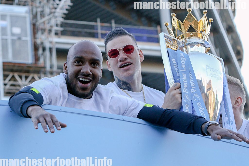 Fabian Delph and Ederson during the Manchester City title parade on May 20, 2019