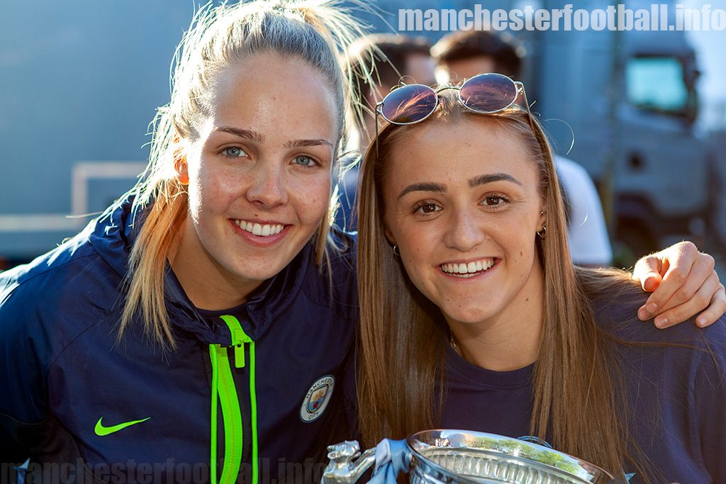 Ellie Roebuck and Georgia Stanway at the Manchester City title parade