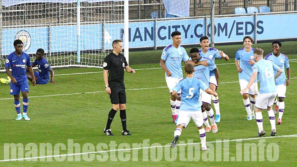 Fisayo Dele-Bashiru celebrates Manchester City EDS first goal against Chelsea U23 after his cross was turned into his own goal by Chelsea captain Marc Guehi