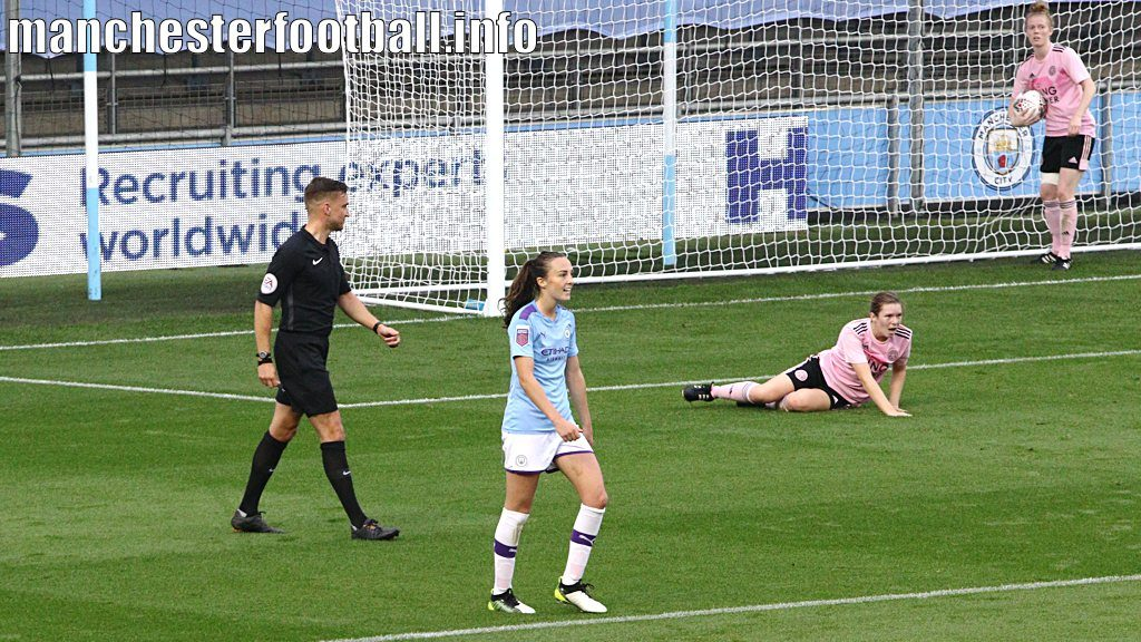 Caroline Weir celebrates her first goal against Leicester City Women in the Continental Cup tie played on Sunday, September 22, 2019