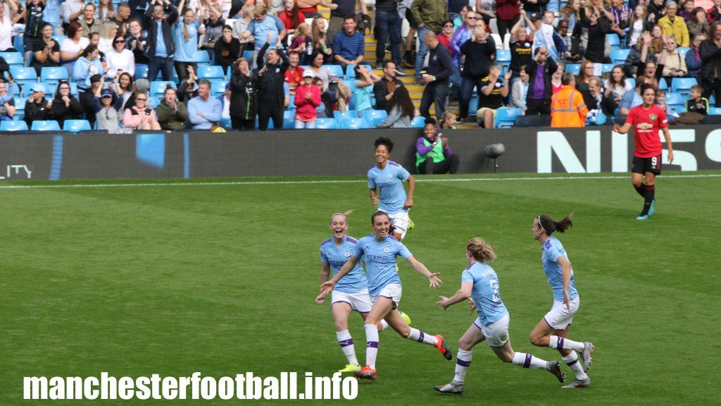 Caroline Weir celebrates her winning goal in the Manchester derby played at the Etihad Stadium on September 7, 2019