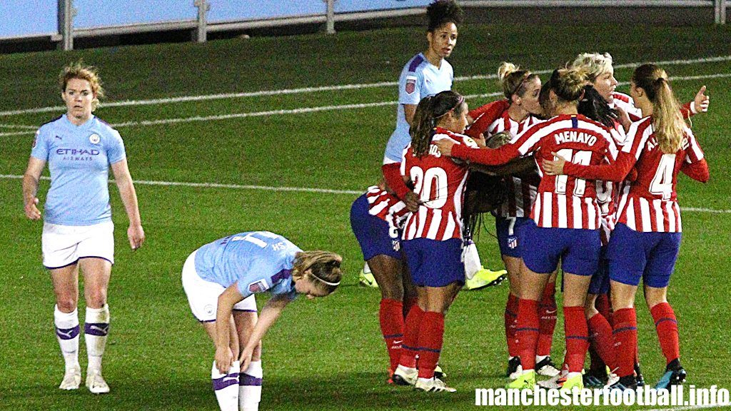 Aoife Mannion (far left) after Atletico Madrid score the equaliser against Man City Women at the City Football Academy on Wednesday October 2019