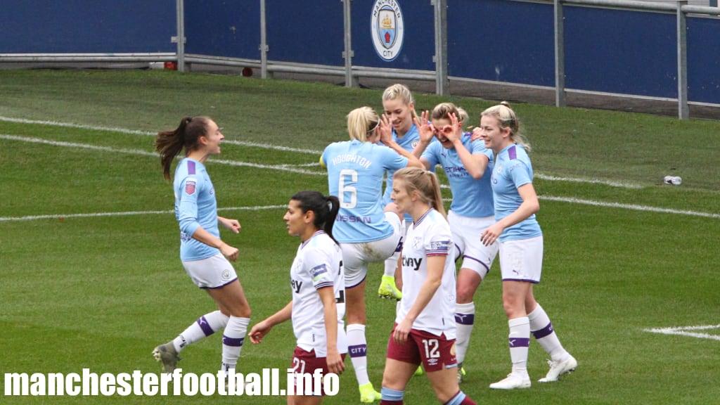 Ellen White (second right) celebrates her goal against West Ham Women with (L-R Tessa Wullaert, Steph Houghton, Gemma Bonner, and Lauren Hemp) - Manchester City vs West Ham - Sunday, November 17, 2019