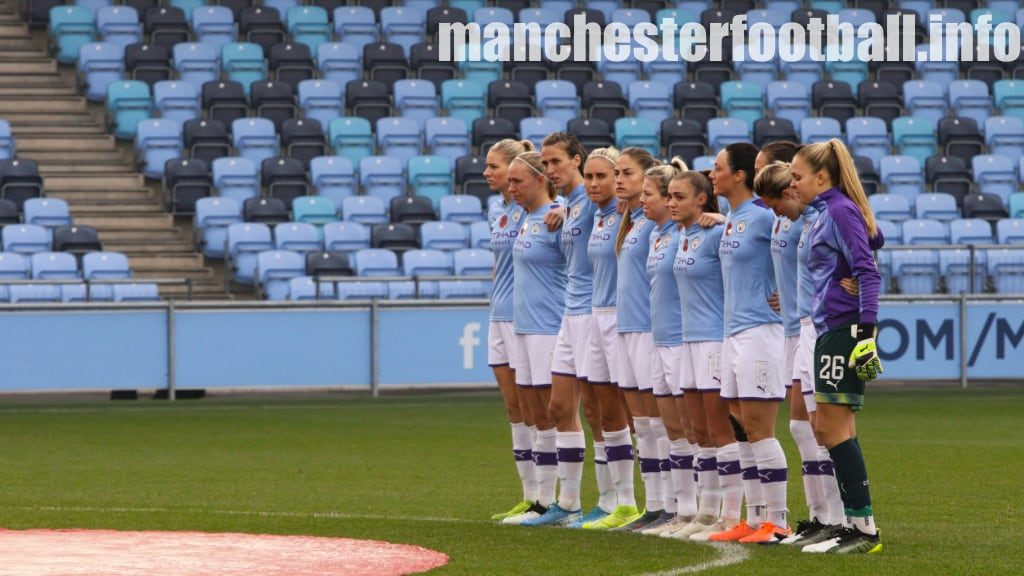 Manchester City players observe a minute of silence for Remembrance Sunday (Continental Cup game against Birmingham City Women played on Sunday, November 3, 2019)