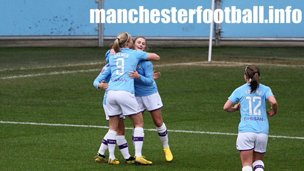 Laura Coombs celebrates her goal against Ipswich Town with Pauline Bremer and Jess Park