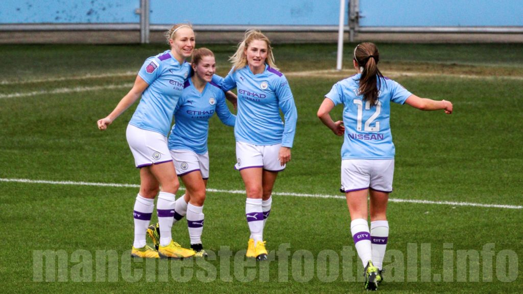Pauline Bremer, Jess Park, Laura Coombs, and Tyler Toland celebrate Laura Coombs opening goal in 10-0 win over Ipswich Town Women in the Women's FA Cup