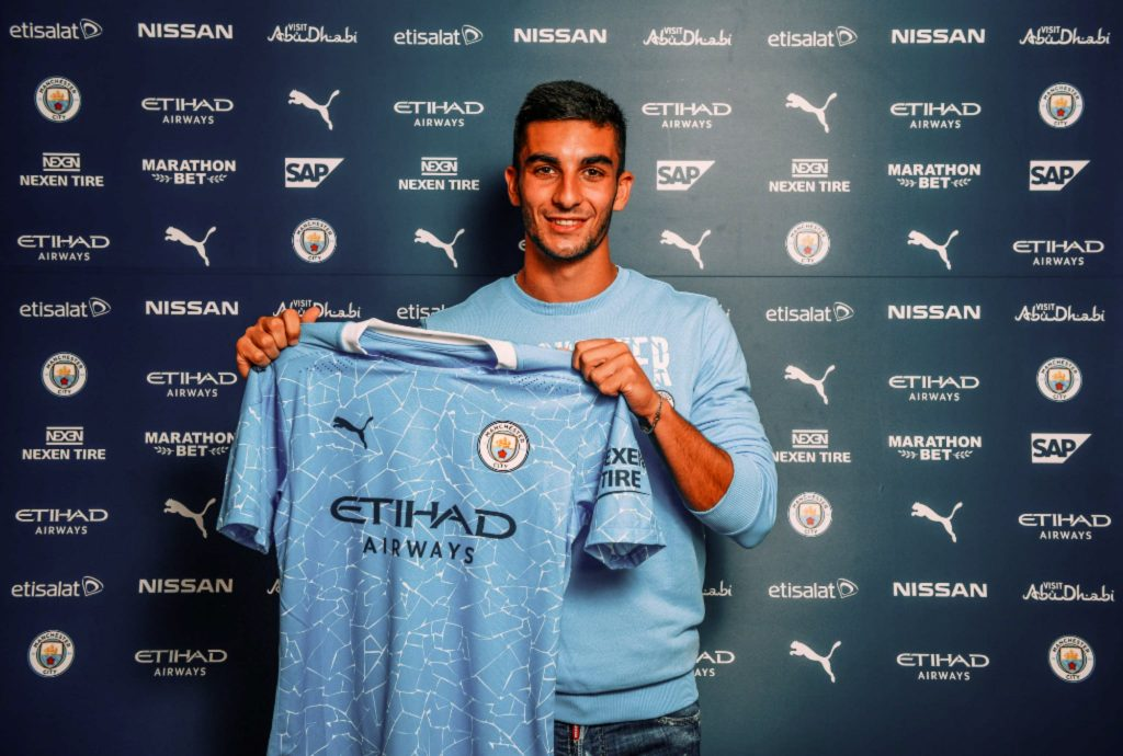 Ferran Torres with Manchester City 2021 Home Shirt