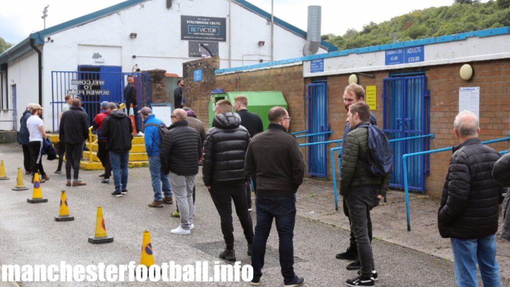 Queue outside 75 minutes before kick off Stalybridge Celtic 4, West Didsbury and Chorlton 0 - Saturday August 22 2020