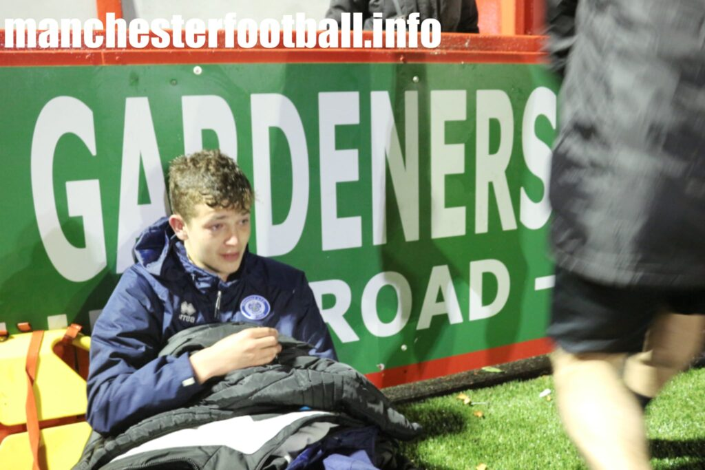 Injured Oli Grey on the touchline - Hyde United 2, Stockport County 1 - FA Youth Cup