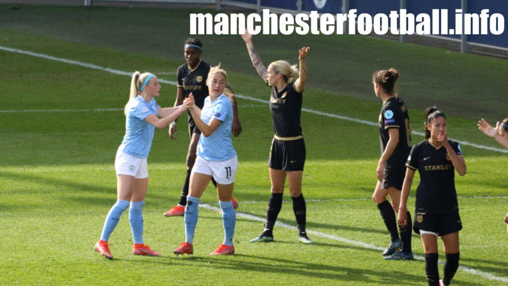 Chloe Kelly congratulates Janine Beckie on her goal - Manchester City Women vs Barcelona Femeni - Women's Champions League Wednesday March 31 2021